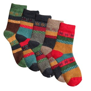 YSense - Pack of 5 Womens Thick Knit Warm Casual Wool Crew Winter Socks