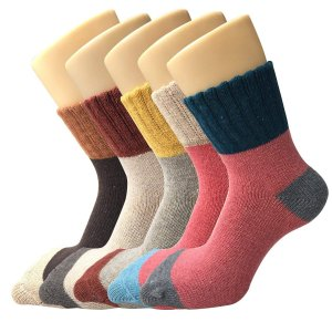 YSense - 5 Pairs Womens Socks Wool Thermal Warm Knitting Ladies Socks for Winter