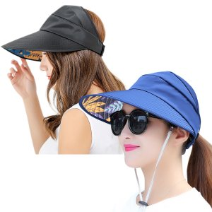 Womens Sun Hats Wide Brim UV Protection Summer Beach Cap Sports Visor
